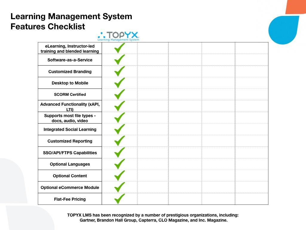 LMS Features Comparison Checklist