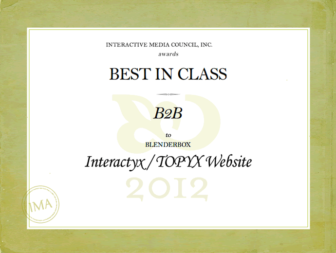 <img alt=&quot;Website Award B2B Interactive media council inc 2012&quot;src=https://topyx.com/wp-content/uploads/2012/06/Website-B2B-Award_low.png&quot;/>