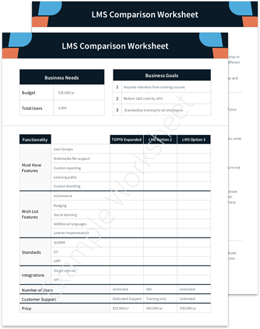 Learning Experience Platform LMS Comparison Sheet